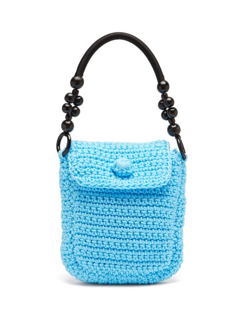 Gabriel For Sach - Zuroncito Wooden-handle Knitted Shoulder Bag - Womens - Blue
