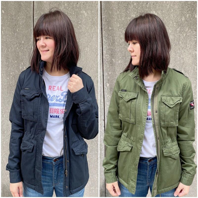 Superdry 極度乾燥 女款 經典新秀熊寶寶內襯 軍綠色 刷舊海軍藍 英式修身剪裁外套 軍裝夾克 全館免運