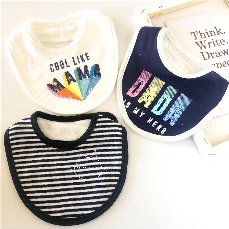 三件裝新生兒純棉口水巾momscare19秋冬嬰兒圍嘴卡通防吐奶圍兜 【快速出貨】