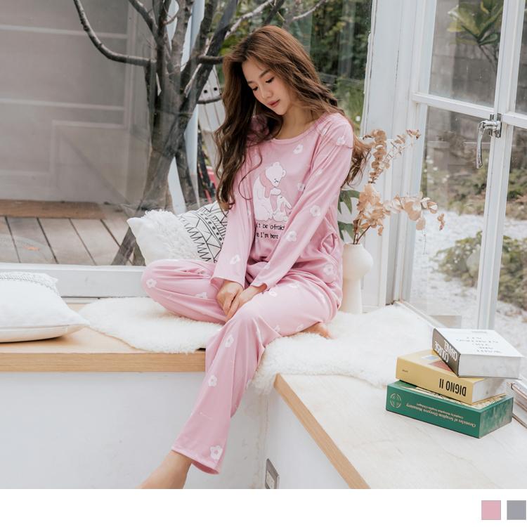 可愛兔子小熊圖案成套睡衣/居家服