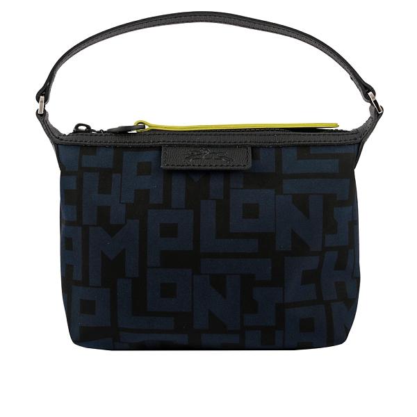 【LONGCHAMP】LE PLIAGE LGP 滿版圖紋手提包(黑/海軍藍) 10039 412 H05