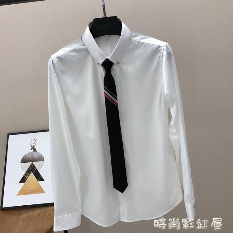 白襯衫男長袖韓版潮流帥氣灰色秋款正裝商務修身冰絲男士黑色襯衣