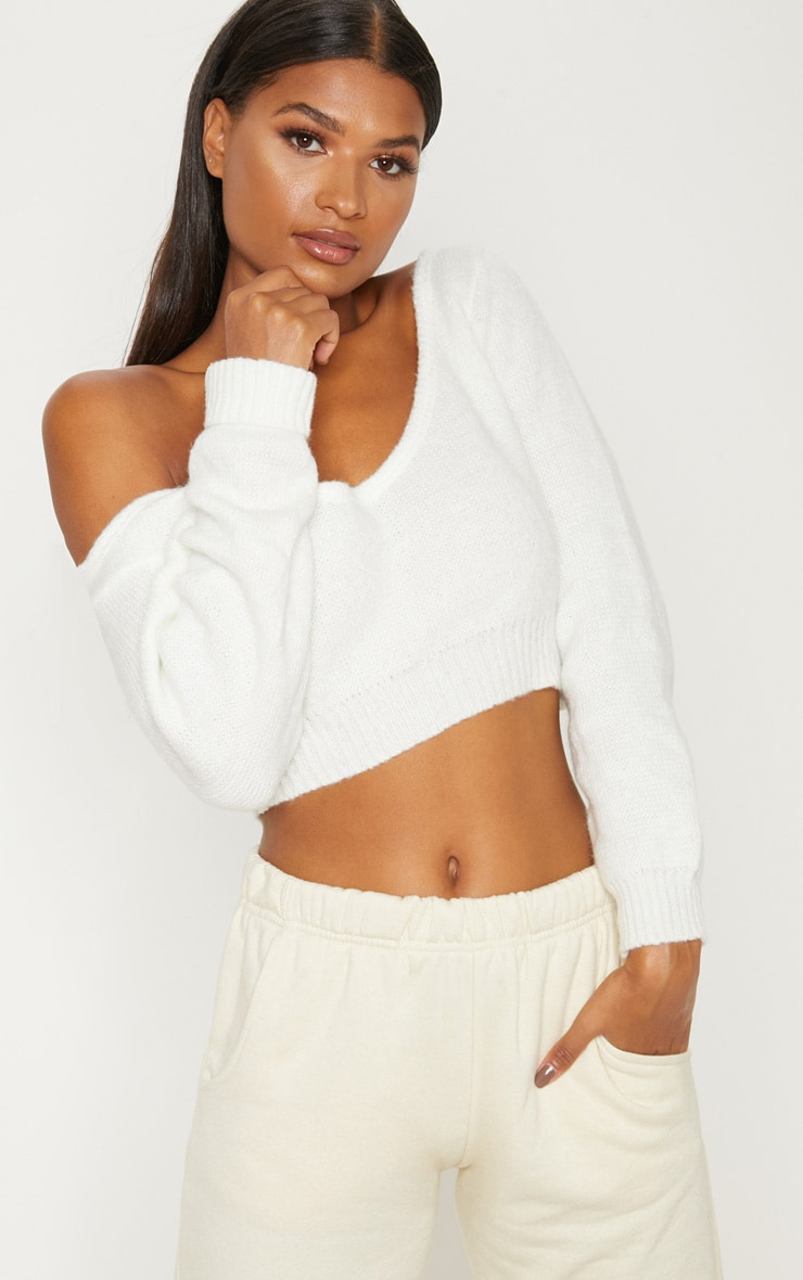 Adelaida Cream Off Shoulder Knitted Crop Jumper