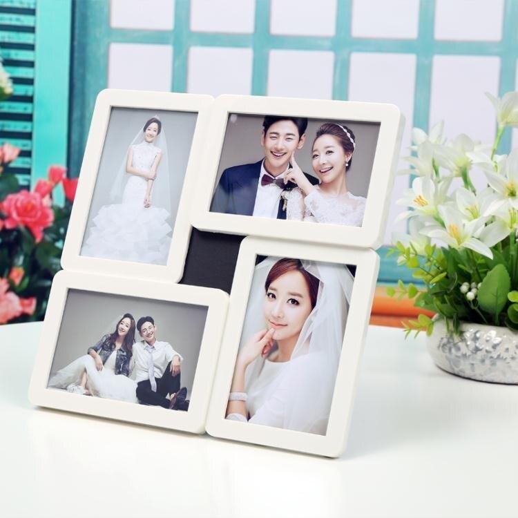 簡約現代6寸相框相架擺台掛牆照片牆 兒童婚紗影樓四宮格組合框