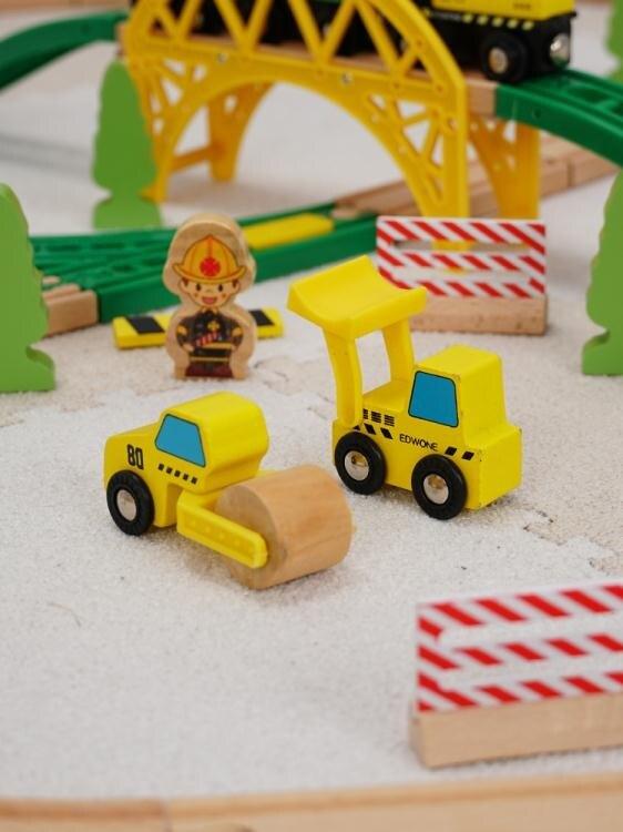 火車軌道勒酷兒童木質滑行小火車軌道車玩具木制火車70片礦山套裝益智拼裝