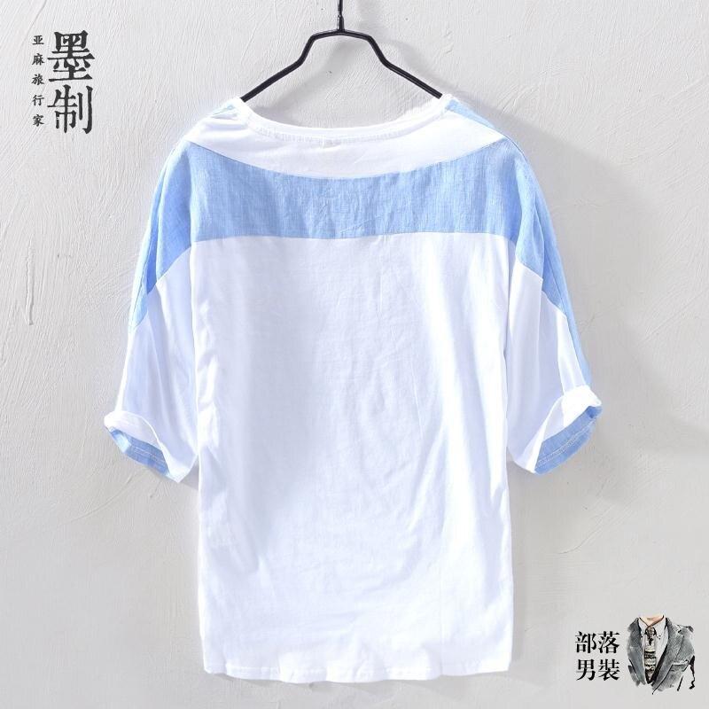 棉麻上衣 夏季薄款亞麻襯衫男中袖 假兩件棉麻T恤男五分袖寬鬆麻料上衣男潮