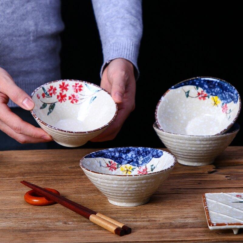 陶瓷日式和風碗5英寸斗碗喇叭碗飯碗湯碗商用擺臺甜品碗家用餐具1入