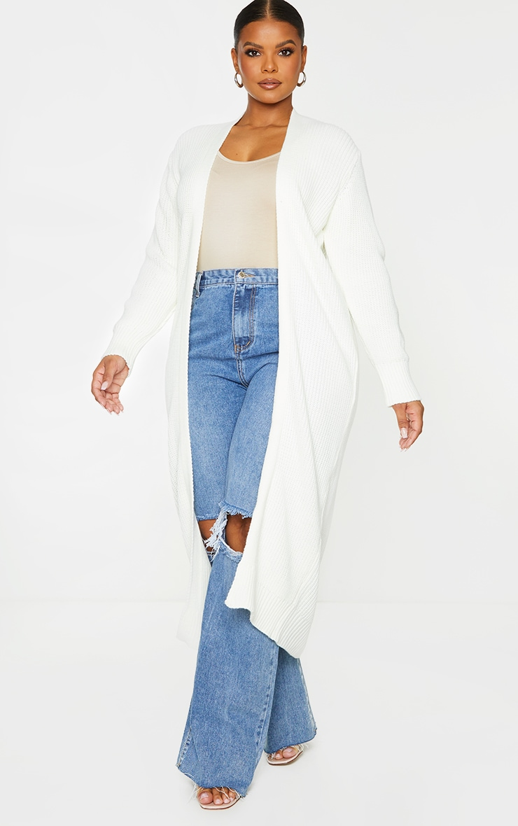 Plus Cream Maxi Knitted Cardigan