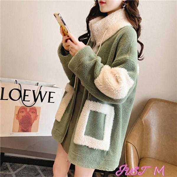 羊羔毛外套羊羔毛外套女秋冬季2021年新款韓版加絨加厚百搭網紅大碼女裝上衣 JUST M