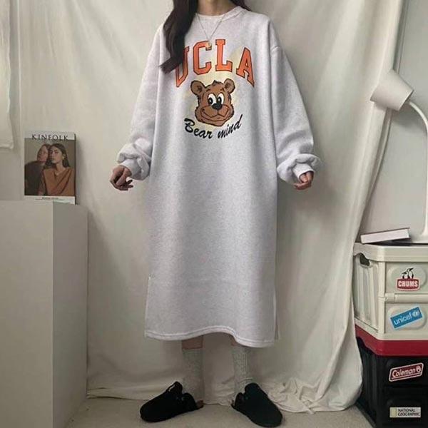 ANNAS 正韓UCLA熊熊懶人裙洋裝長袖連身裙長裙 長洋裝厚刷毛加絨可愛卡通韓國