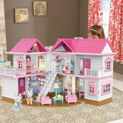森林燈光大屋過家家別墅娃娃屋城堡動物家族仿真房子女孩玩具禮物薄荷の小鋪Z001
