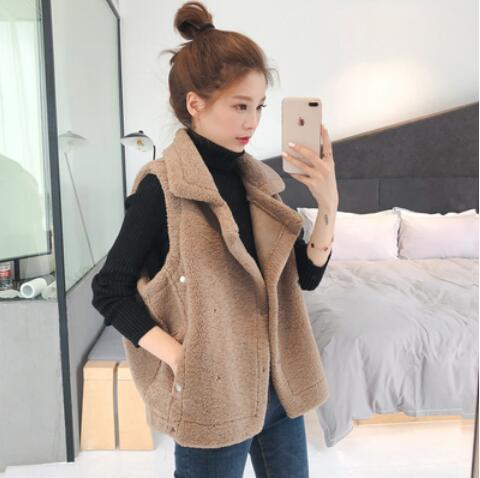 秋冬新款韓版寬松顯瘦無袖馬甲背心女學生短款羊羔毛外套上衣1入