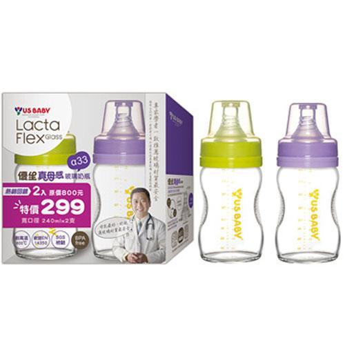優生 真母感玻璃瓶-寬口240(2入)【愛買】