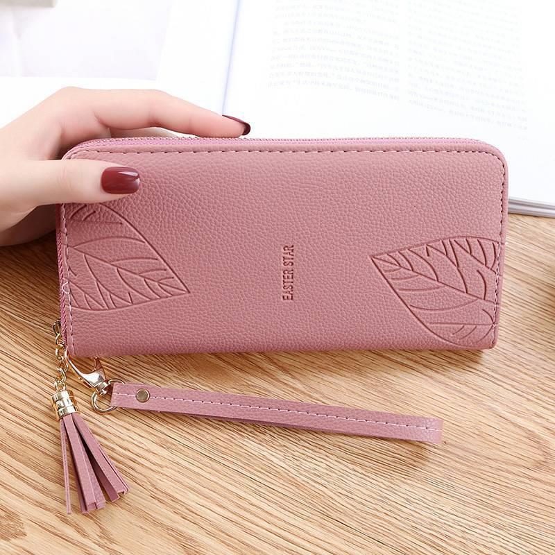 (❤^-^❤)女士長款手拿包手腕包多功能拉鏈大容量手機零錢包