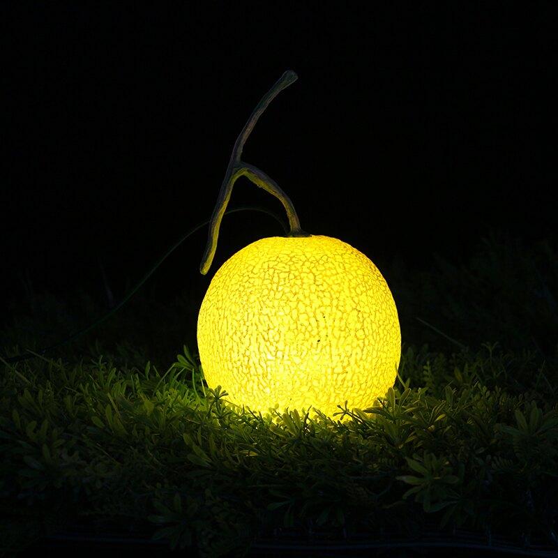 LED發光哈密瓜燈哈密瓜夜光草坪燈園林景觀裝飾燈仿真水果裝飾燈1入
