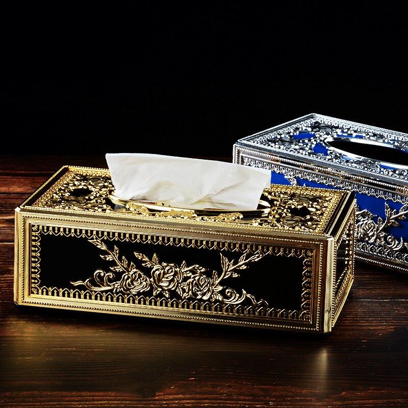 高檔歐式紙巾盒 創意個性時尚長方形塑料抽紙盒 KTV酒吧會所家用1入