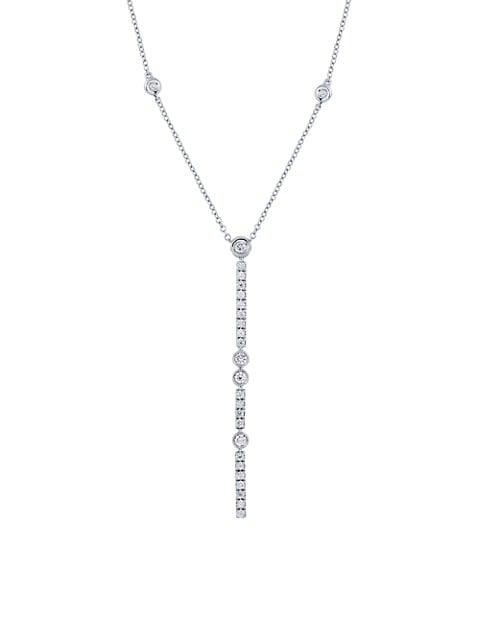 Splash 18K White Gold & Diamond Vertical Bar Pendant Lariat Necklace