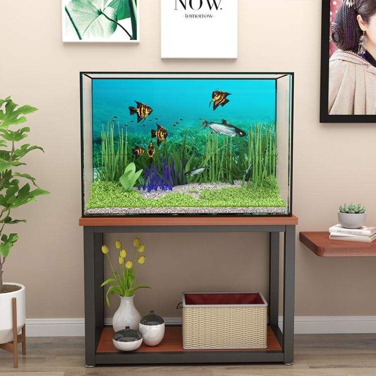 魚缸架 北歐鐵藝魚缸架龜缸架子實木不銹鋼底座電視櫃邊桌定製簡約魚缸櫃T