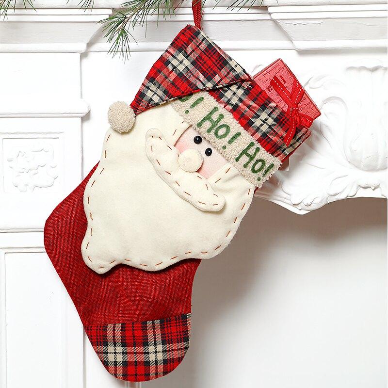 圣誕節裝飾襪大號襪子麻布圣誕襪圣誕樹掛件兒童圣誕襪糖果禮品袋1入