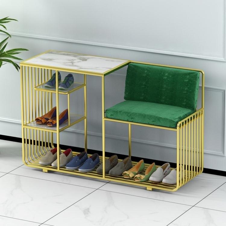 北歐換鞋凳鞋櫃一體組合家用入門鞋櫃門口可坐玄關金色鐵藝長方形  聖誕節狂歡購
