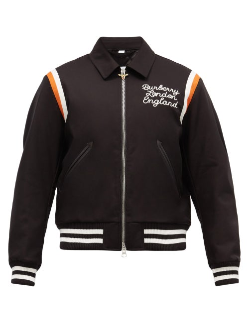 Burberry - Epping Embroidered Cotton Varsity Jacket - Mens - Black