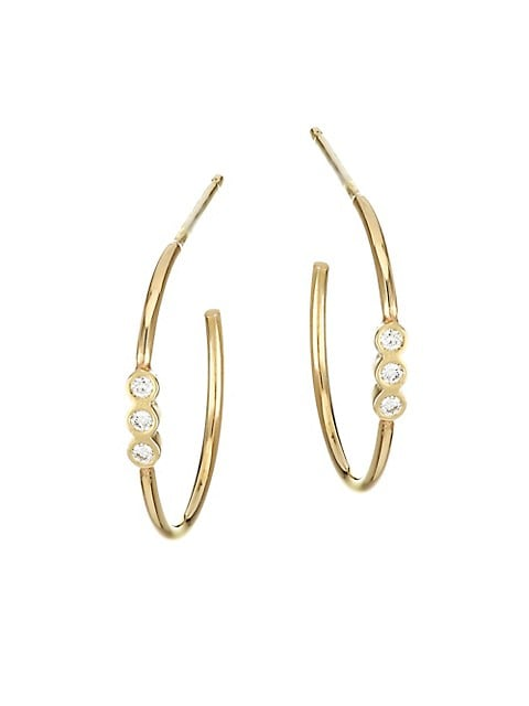 Small 14K Yellow Gold & Diamond Bezel Hoop Earrings
