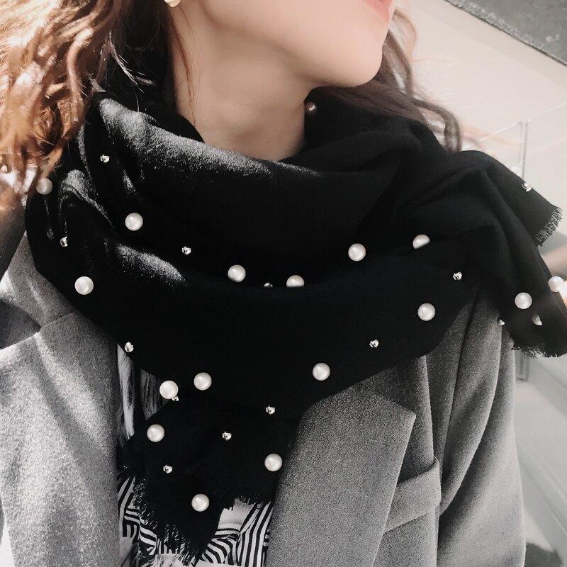 純色冬天女士披肩加厚保暖冬款黑色珍珠圍巾女冬季百搭秋冬釘珠長1入