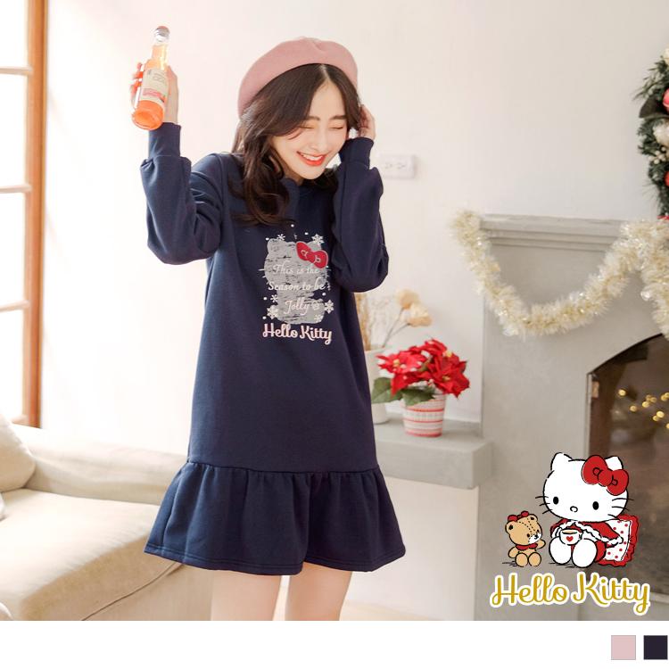 KITTY聖誕系列~台灣製造內刷毛印圖荷葉裙擺洋裝