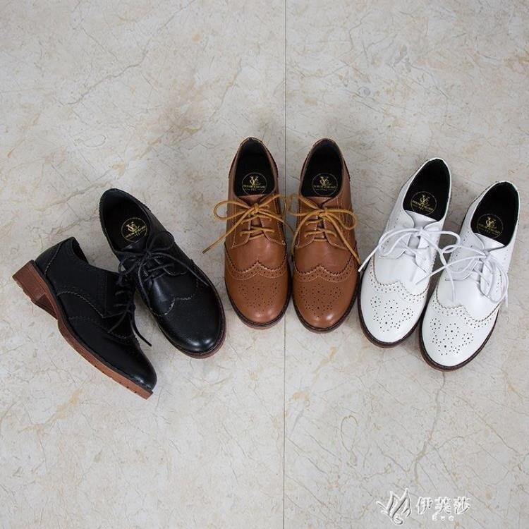 英倫風單鞋女學院風雕花粗跟小皮鞋學生綁帶牛津鞋跨境女