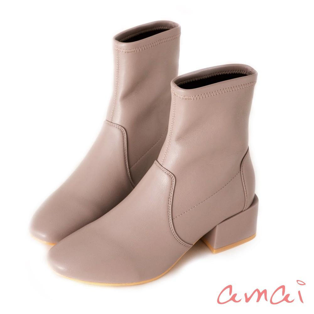 amai 《漫步巴黎》小方頭襪靴 皮革香芋奶茶灰 GB-49GY