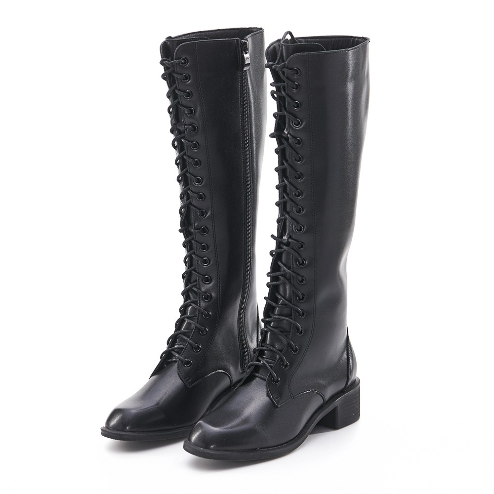 Camille's 韓國空運-正韓-小方頭綁帶拉鍊長筒靴-黑色