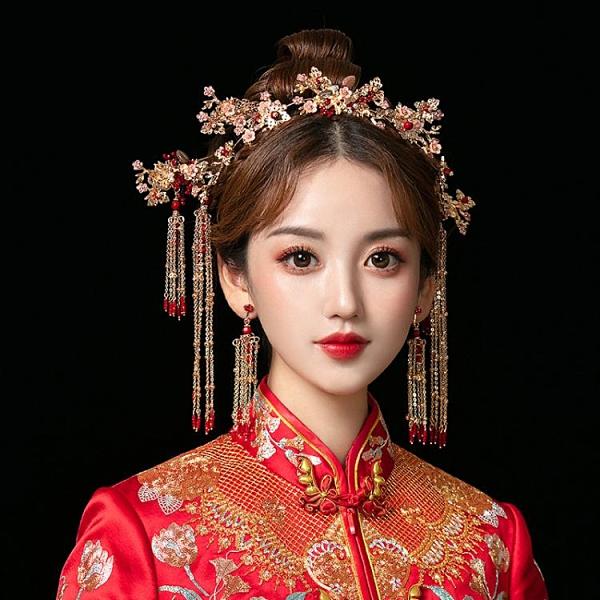 中式新娘秀禾頭飾鳳冠大氣秀禾服紅色飾品結婚2020新款皇冠發飾女