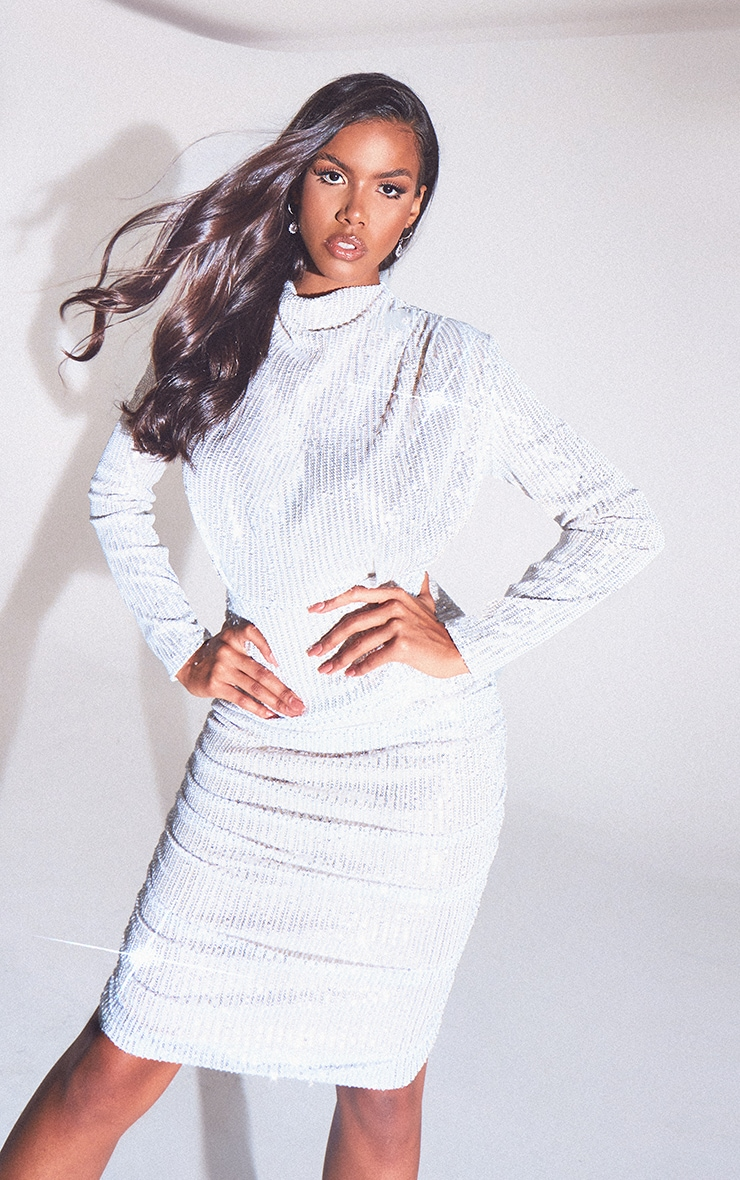 Silver Sequin Shoulder Pad Ruched Front Midi Dress
