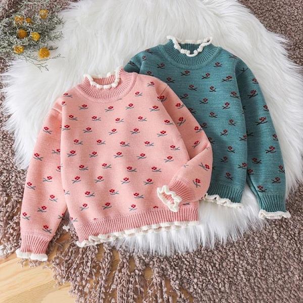 兒童毛衣秋冬新款洋氣針織衫女童套頭打底衫加絨男童保暖寶寶線衫 艾瑞斯