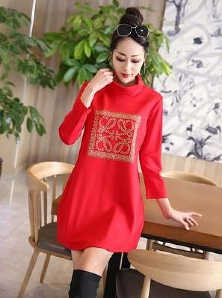 羅馬棉連衣裙秋冬新款長袖高領韓版中長款寬鬆百搭T恤打底衫裙子