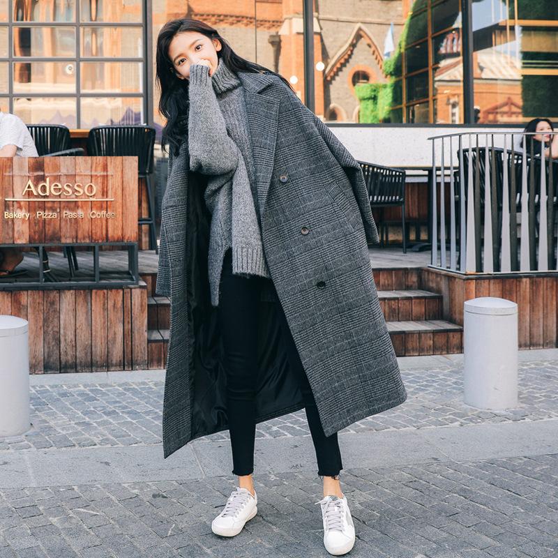 格子毛呢大衣女中長款韓版寬鬆2020冬季新款學生過膝呢子外套