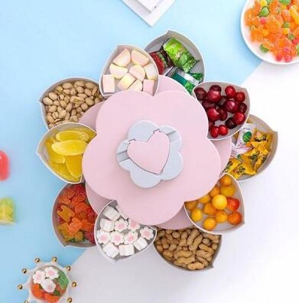 水果盤 創意干果收納盒零食盤家用糖果盒現代客廳茶幾果盤分格帶蓋堅果【快速出貨八折優惠】