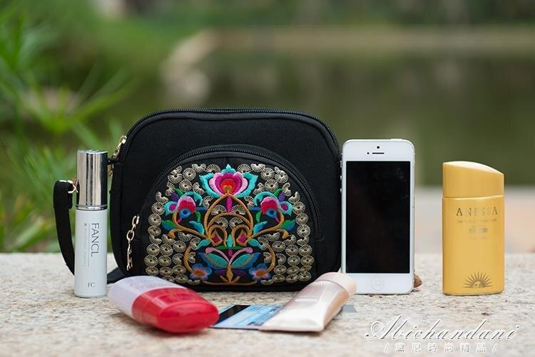 新款民族風繡花包包刺繡帆布簡約手機包零錢包小包女士斜背包