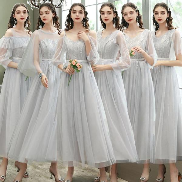 2020新款綁帶平時可穿姐妹團中長款伴娘禮服主持簡約大氣仙氣質冬