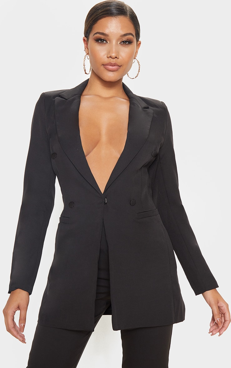 Black Double Breasted Woven Blazer