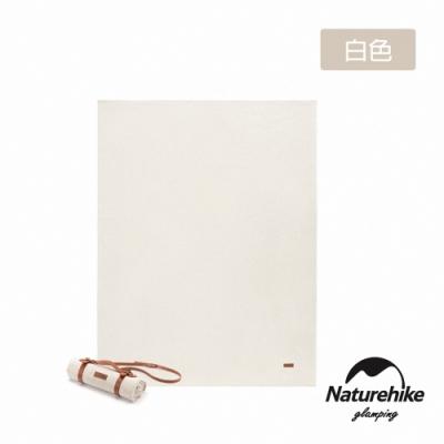 Naturehike 簡約復古 素面帆布野餐墊 地墊 附皮革收納帶 白色