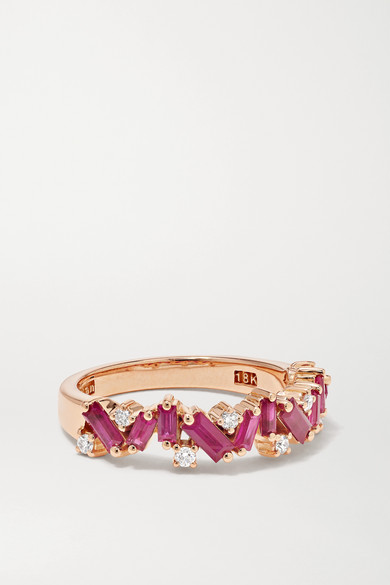 Suzanne Kalan - 18k 玫瑰金、红宝石、钻石戒指 - 6