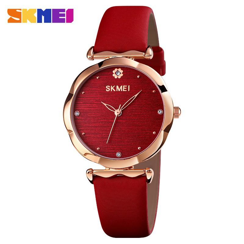 時刻美 Skmei 手錶圓形錶盤 女裝豪華石英手錶 休閒女士皮革錶帶 復古女商務鐘鑽石 1703