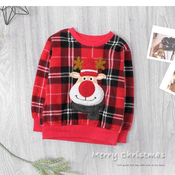 純棉 聖誕毛呢麋鹿刺繡縮口上衣 聖誕節 格紋 麋鹿 保暖 男童上衣 女童上衣 厚 兒童長袖 冬童裝