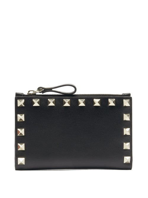 Valentino Garavani - Rockstud Leather Card And Coin Purse - Womens - Black
