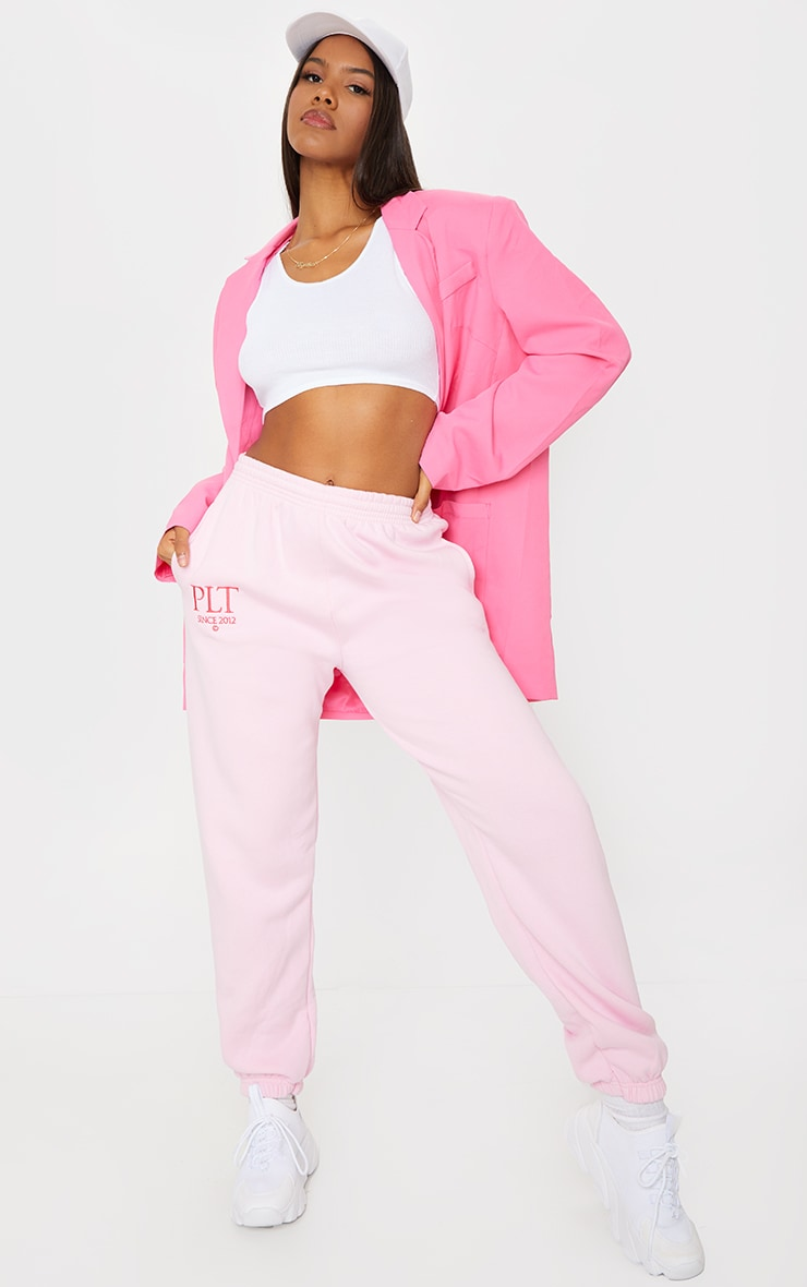 PRETTYLITTLETHING Baby Pink Established Slogan Casual Track Pants