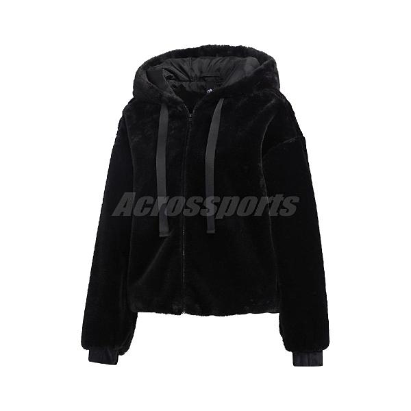 adidas 外套 Style Fur Jacket 黑 粉 女款 連帽外套 絨毛 運動休閒 【ACS】 GM1468