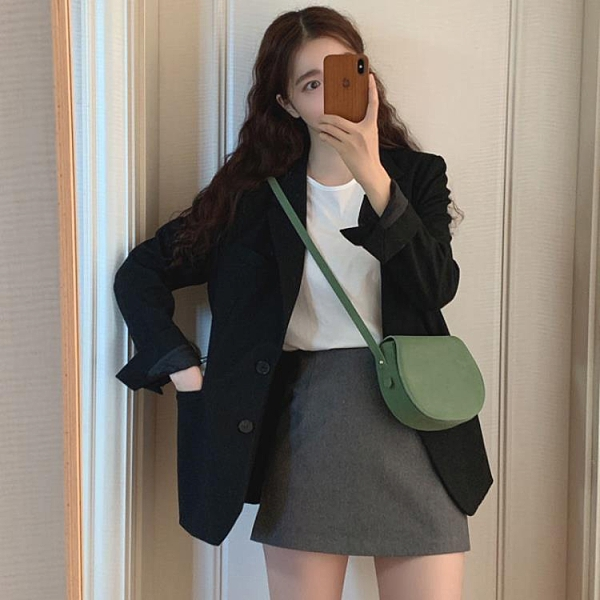 小西裝外套女2020春季新款ins英倫風網紅韓版中長款黑色西服小眾 後街五號