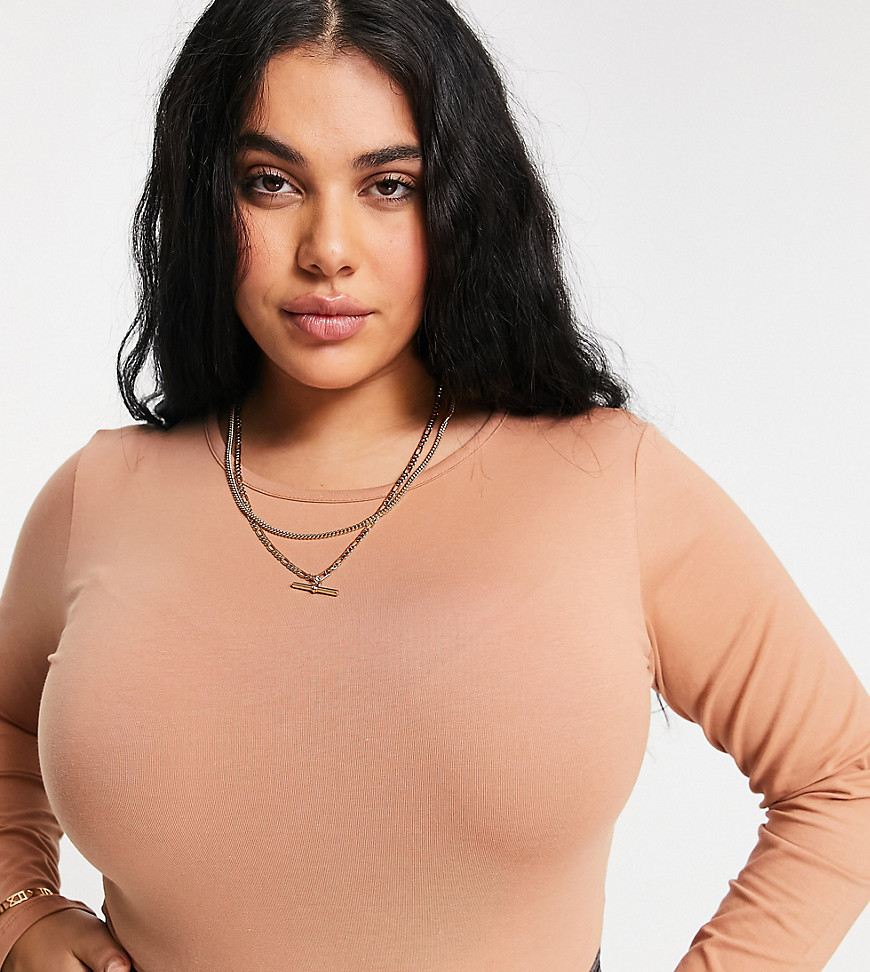 Outrageous Fortune Plus exclusive long sleeve open back body in camel-Tan