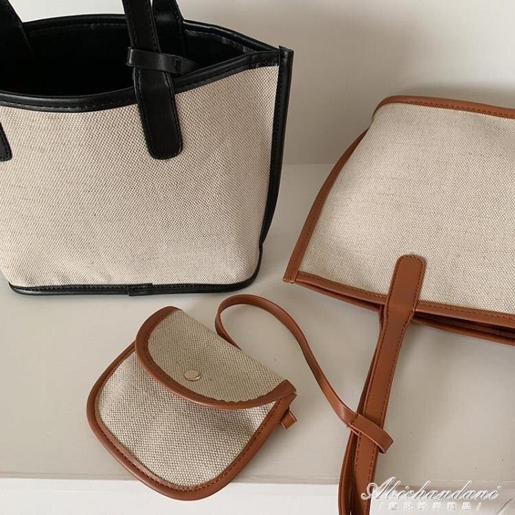 韓國ins新款拼接麻料手拎女包子母包手提側背敞口女包購物袋